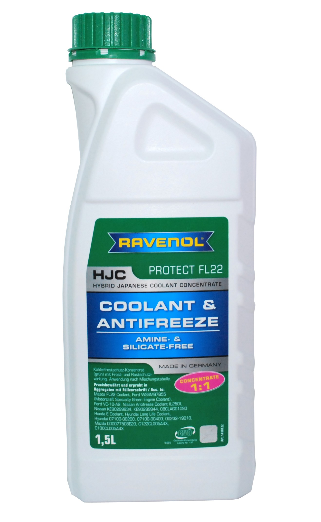 Antigel verde RAVENOL 1410122 HJC ANTIFREEZE JAPANESE P-OAT GREEN 1.5L