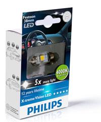 BEC AUTO PHILIPS 128584000KX1 Festoon X-tremeVision LED T10,5x38 4 000 K 12V 1W