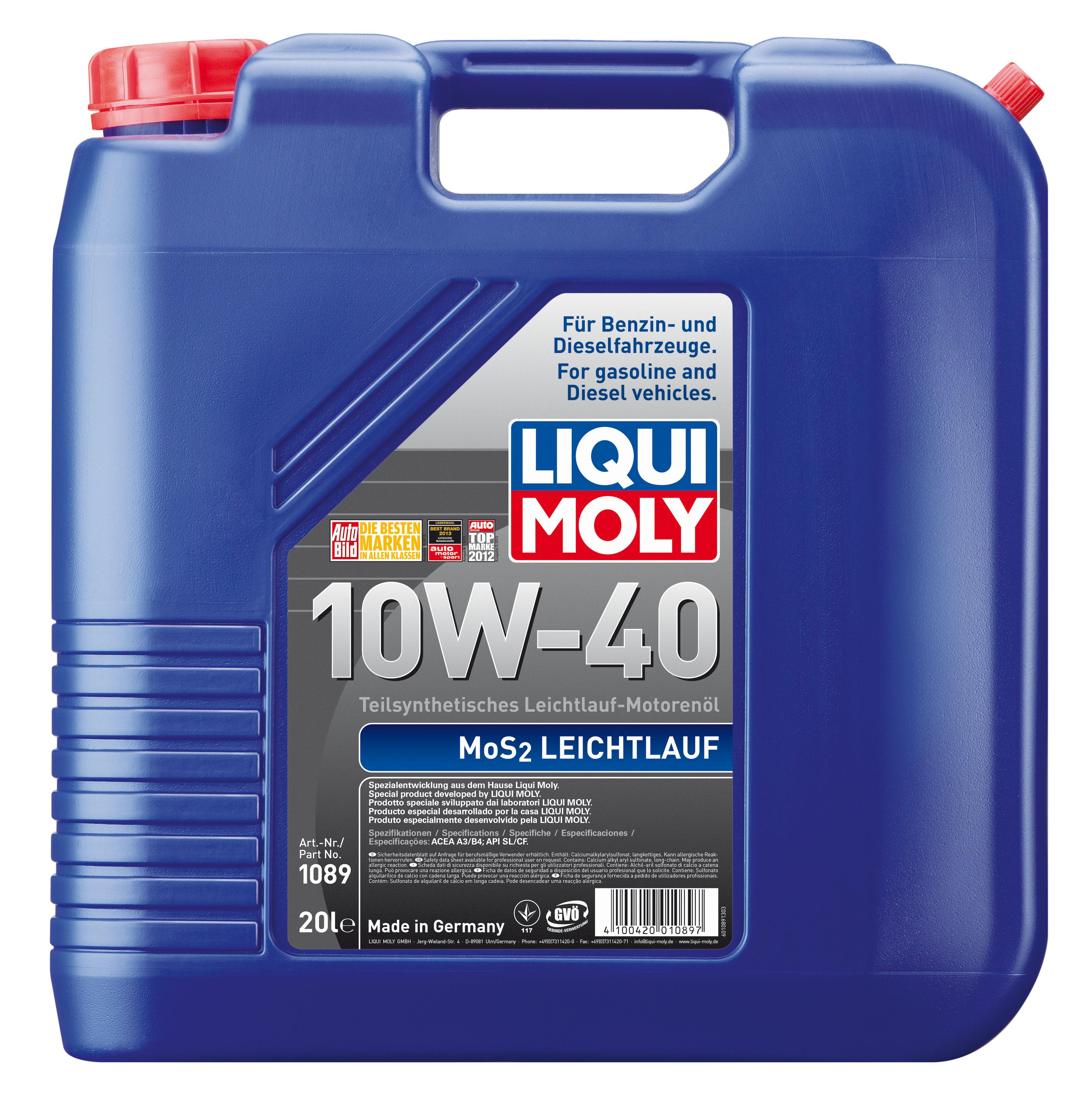 ULEI MOTOR LIQUI MOLY 1089 MOS2 LEICHTLAUF 10W40 20L