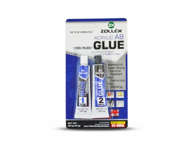 Adeziv acrilic negru/alb ZOLLEX Z15002 ST-405A - 20ml+20ml