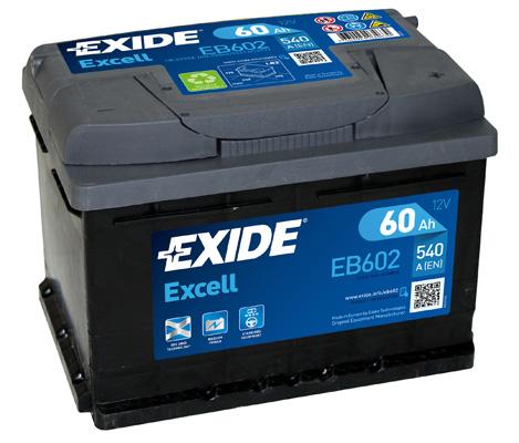 Baterie auto EXIDE EB602 EXCELL 12V 60AH 520A