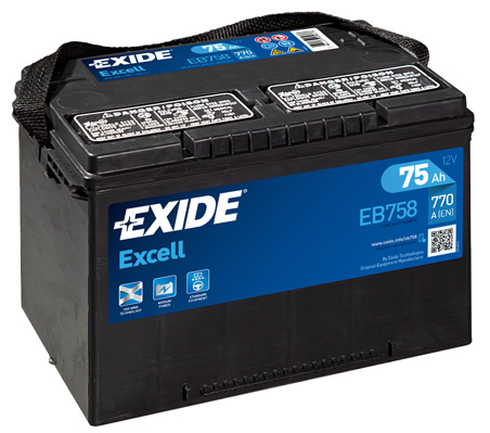 Baterie auto EXIDE EB758 EXCELL 12V 75AH 770A