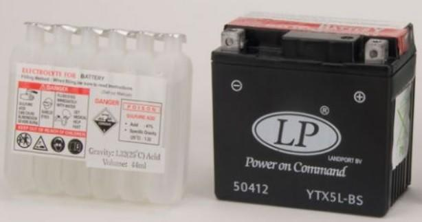 Baterie motocicleta LANDPORT LP YTX5L-BS POWER ON COMMAND 12V 4AH 80A