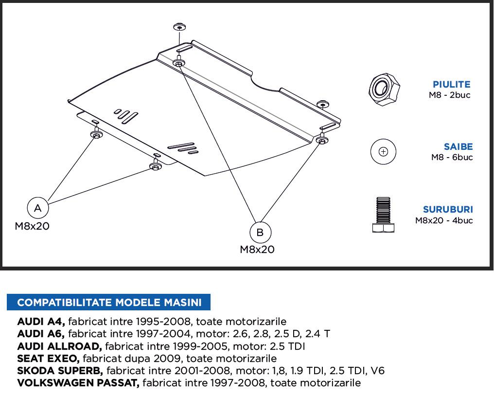 Scut metalic motor, cutie de viteza MTR Volkwagen Passat / Toate motorizarile / Tip cutie viteze: manual / 1997 -