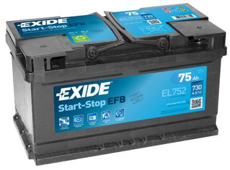 Baterie auto EXIDE EL752 EFB 12V 75Ah, 730A