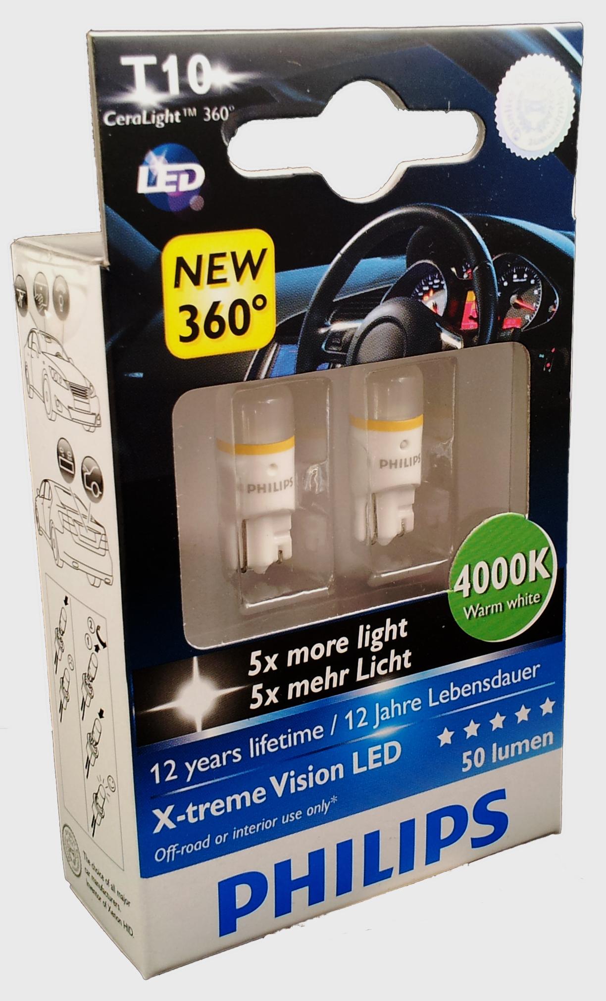 BEC AUTO PHILIPS 127994000KX2 W5W XTREME VISION LED 12V 1W