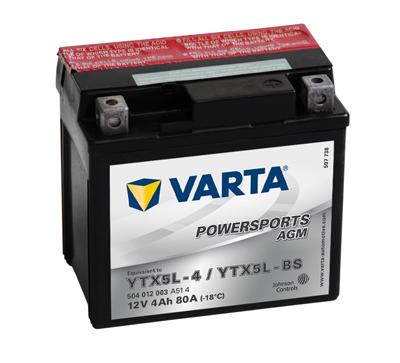 Baterie motocicleta VARTA 504012003A514 Funstart AGM YTX5L-BS 12V 4AH, 80A